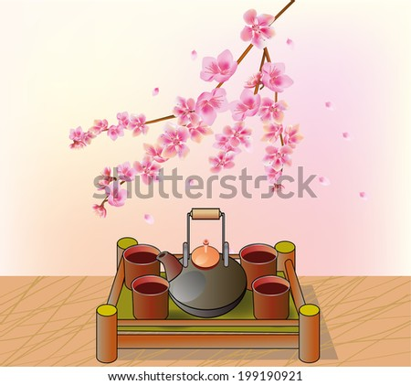 Cherry blossoms  . Tea ceremony.Menu . - stock vector