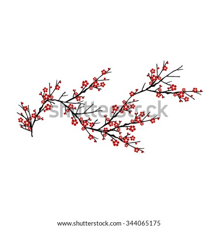 cherry tree isolated on white background - stock vector
