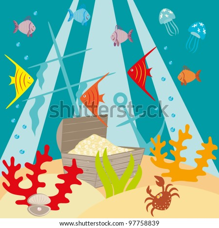 Chest with treasures on a sea-bottom(vector) - stock vector