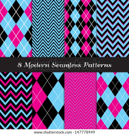 8 Chevron and Argyle Patterns in Blue, Hot Pink and Black with White Accent Lines. Perfect for Girls Monster Party or Halloween Backgrounds. Pattern Swatches made with Global Colors. - stock vector
