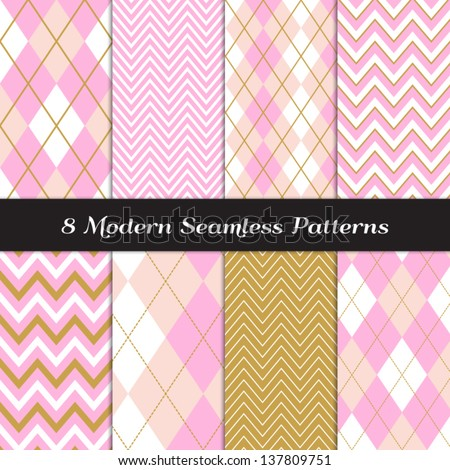 8 Chevron and Argyle Patterns in Carnation and Ballet Pinks, White and Gold. Pattern Swatches made with Global Colors - easy to change all patterns in one click. - stock vector