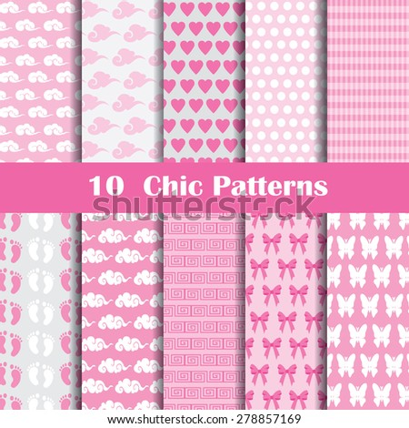 10 Chic different vector seamless patterns (tiling). Pink color. Endless texture can be used for printing onto fabric and paper or scrap booking. Heart, flower and dot shape. - stock vector