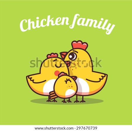 chiken dad and son . chicken family - stock vector