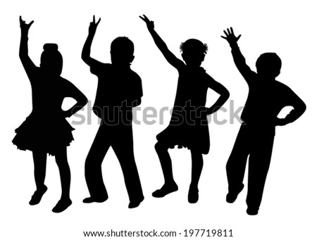 children dancing silhouette on a white background vector - stock vector