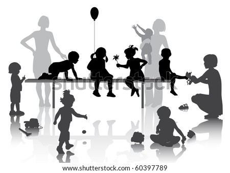 8 children playing with some toys - stock vector