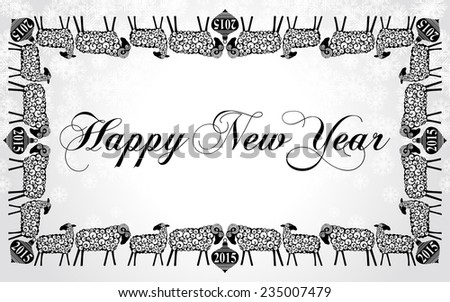 2015 Chinese New Year of the Goats and Sheep. Christmas Frame With Sheep. Black and white color. Vector file organized in layers for easy editing.  - stock vector