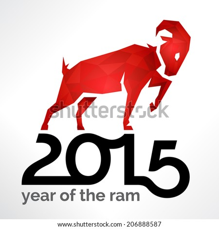 2015 chinese new year of the ram sheep or goat on white card - 2015 Chinese New Year Animal
