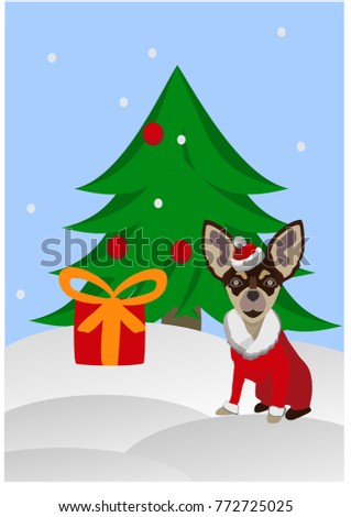 2018 Chinese New Year, Year of Dog Vector Design, Dog in Santa Claus's suit