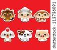 12 Chinese Zodiac animal - stock vector