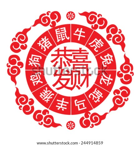 12 Chinese zodiac signs: rat, ox, tiger, rabbit, dragon, snake, horse, sheep, monkey, rooster, dog and pig. Chinese GONG XI FA CAI, Translation:wishing you to be prosperous in the coming year
