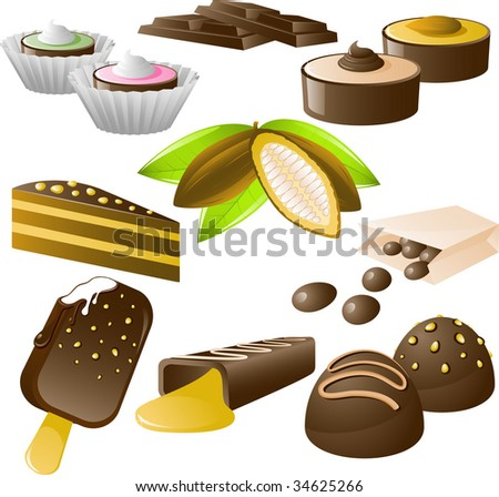 8 chocolate desserts and cocoa beans! Isolated on white - stock vector