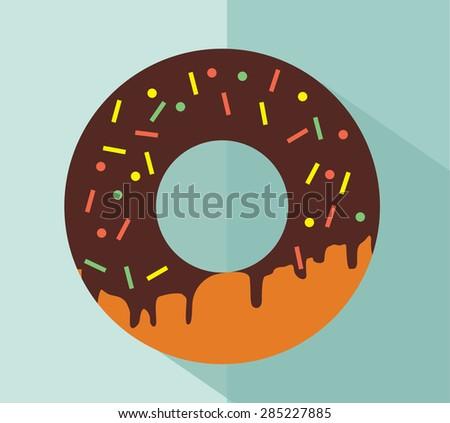 chocolate glaze donut. Flat vector - stock vector