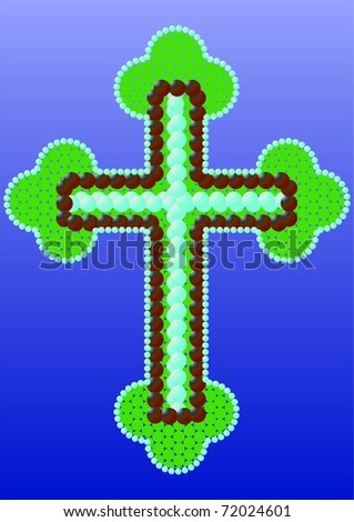 Christian cross made of beads with a finish. - stock vector