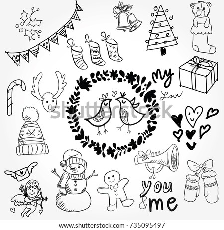 Christmas And New Year Cartoon Cute Doodle Icon Sketch Hand Draw On The White Background