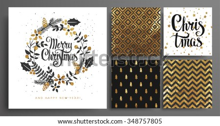 Christmas and New Year's  Template Set for Greeting Scrapbooking, Congratulations, Invitations, Tags, Stickers, Postcards.  Christmas Posters set. Vector illustration. - stock vector
