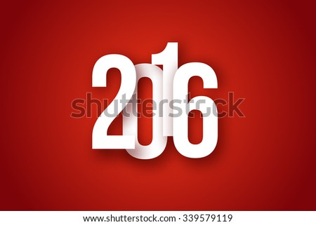 2016 Christmas Applique Background. 2016 Numbers with Soft Shadows on Red Background. Vector Illustration for Your Design.