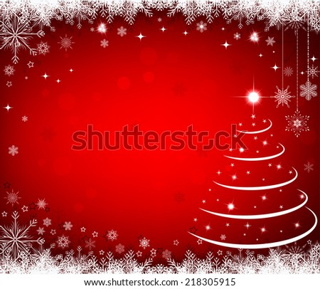 Christmas background greeting card with snowflakes - stock vector