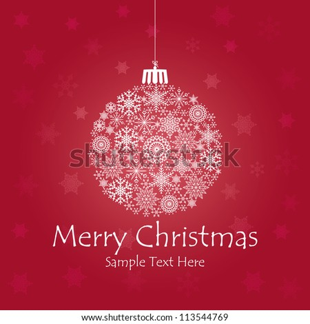 Christmas ball made of snowflakes isolated / Vector Christmas ball made from simple snowflakes - Christmas card / Christmas background with christmas ball illustration. - stock vector