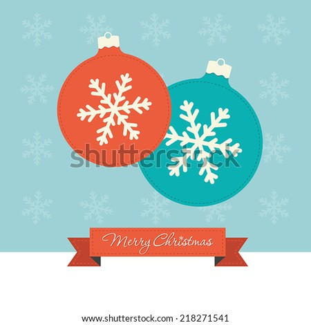2 Christmas baubles with snowflakes  - stock vector