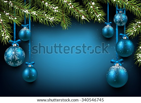 Christmas blue background with fir branches and balls. Vector illustration. - stock vector