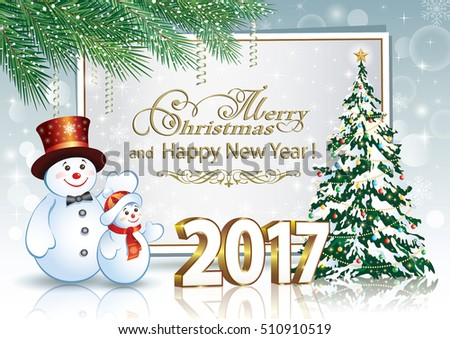 2017 Christmas card with a Christmas tree and a snowman on the background of the poster and fir branches