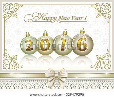 2016 Christmas card with balls - stock vector