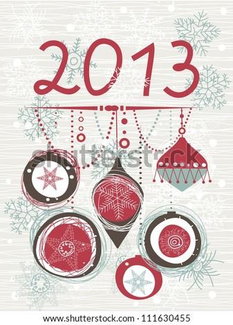 2013 Christmas card with space for your text or image - stock vector