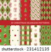 10 Christmas different seamless patterns. Endless texture for wallpaper, web page background, wrapping paper and etc. Retro style. - stock vector