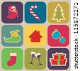 9 Christmas elements, vector icons,background - stock vector