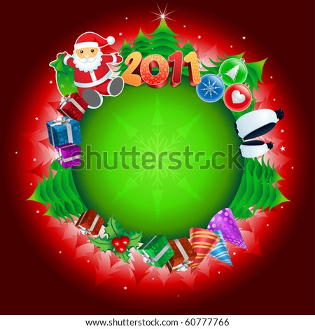 2011 Christmas Globe. All elements are layered and grouped. - stock vector