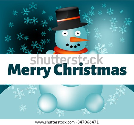 Christmas greeting snowman on the background - stock vector