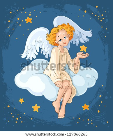 Christmas holiday theme. Cute angel girl with star sitting on a cloud. Also available raster version - stock vector