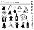 16 Christmas icons (vector) - stock vector