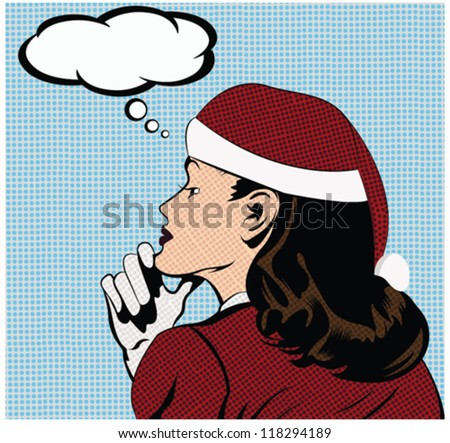 Christmas illustration of a thinking woman in a pop art/comic style dressed as Santa girl - stock vector
