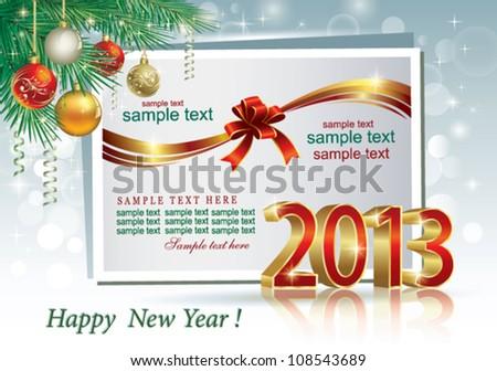 2013 christmas postcard - stock vector