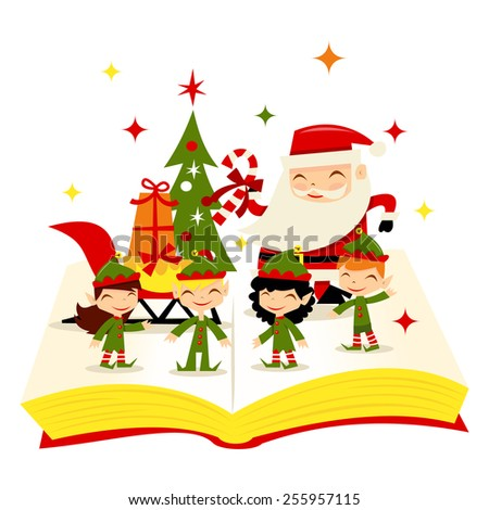 """Christmas Santa Elves Story Book"" is a cute cartoon vector illustration of a magical open story book filled with christmas santa, christmas elves, christmas tree and christmas sleigh. - stock vector"