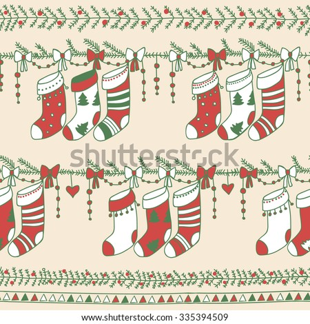 Christmas seamless pattern for winter holidays ornaments in bright colors. deer Santa
