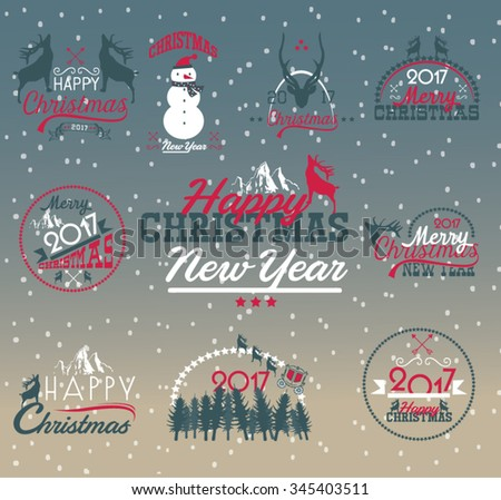 2017 Christmas set - labels, emblems and other decorative elements