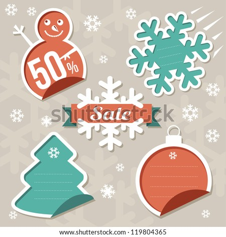 Christmas Sticker tags - Sale - stock vector