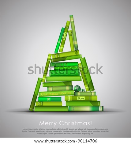 """Christmas Stories"". Christmas tree formed from books. Vector Illustration. - stock vector"