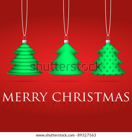 3 Christmas tree bauble card in vector format. - stock vector