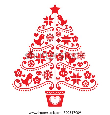 Christmas tree design - folk style with birds, flowers and snowflakes   - stock vector