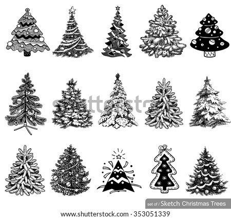 15 Christmas tree illustrations in one file to create holiday cards, backgrounds and decorations. - stock vector
