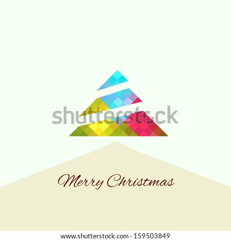 .christmas tree in rainbow colors - stock vector