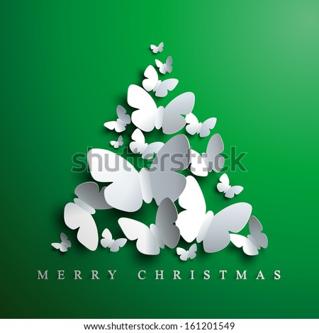 Christmas tree made of white paper butterflies on green background - stock vector