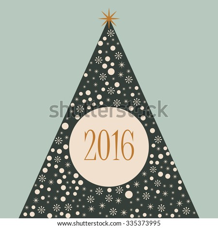 2016 Christmas tree merry Xmas retro background - stock vector