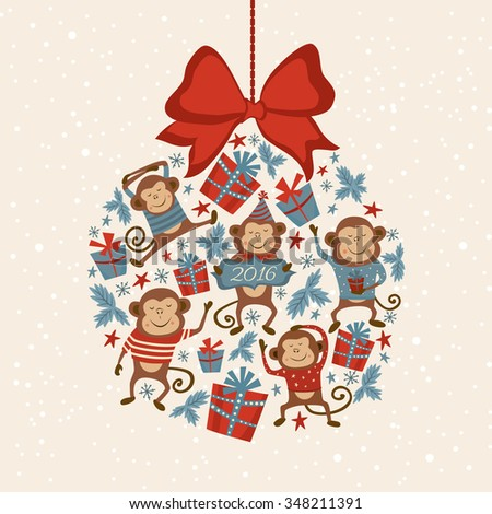Christmas tree toy with monkeys, symbol of Chinese New Year. Good for calendar, notebook cover, poster or party invitations. Vector illustration