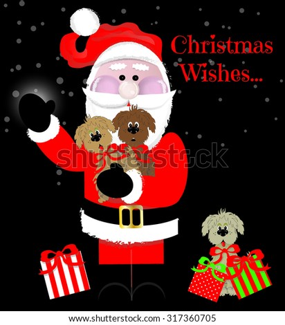 """Christmas Wishes"" Santa with Puppies for Presents - stock vector"