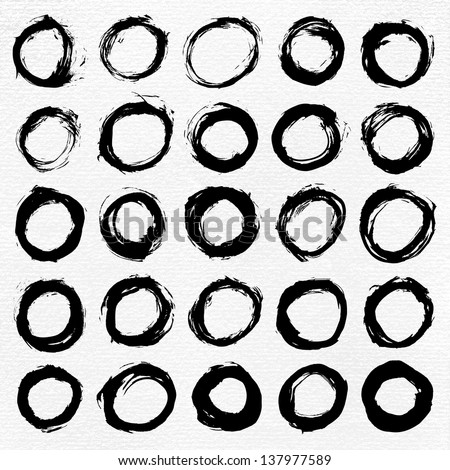 25 circle form black brush stroke. Drawing created in ink sketch handmade technique. Shapes on white paper watercolor texture background. Vector illustration design element in 8 eps - stock vector