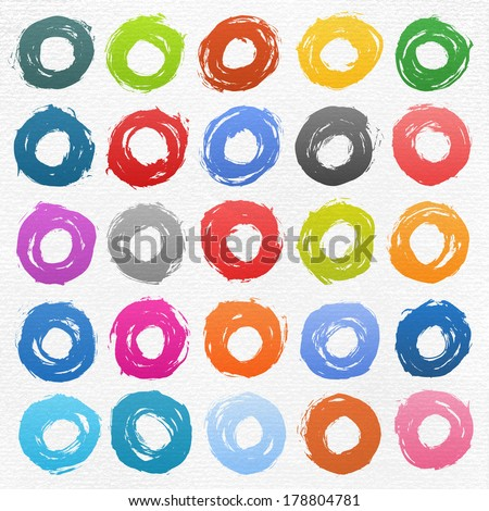 25 circle form colored brush stroke. Drawing created in ink sketch handmade technique. Shapes on white watercolor texture paper background. Vector illustration clip-art design element 10 eps - stock vector
